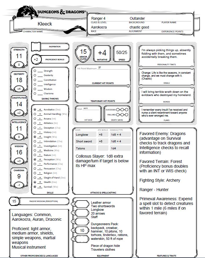 filling out a character sheet 5e