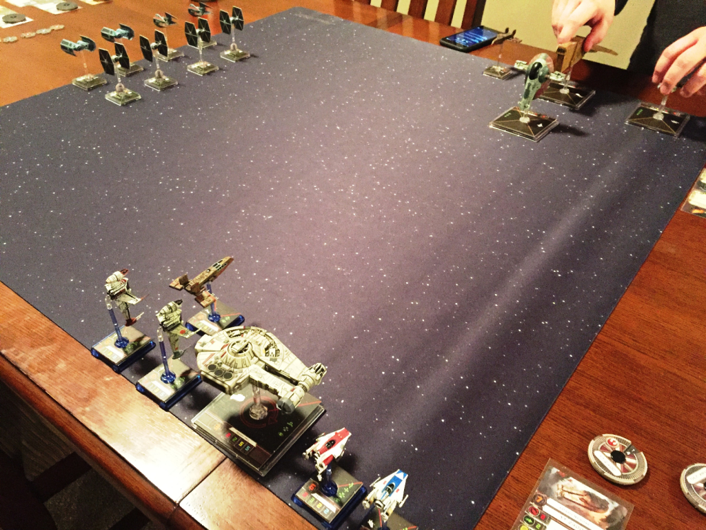 My Rebel ships are in the foreground with the Imperials to the left and a host of bounty hunters to the right.