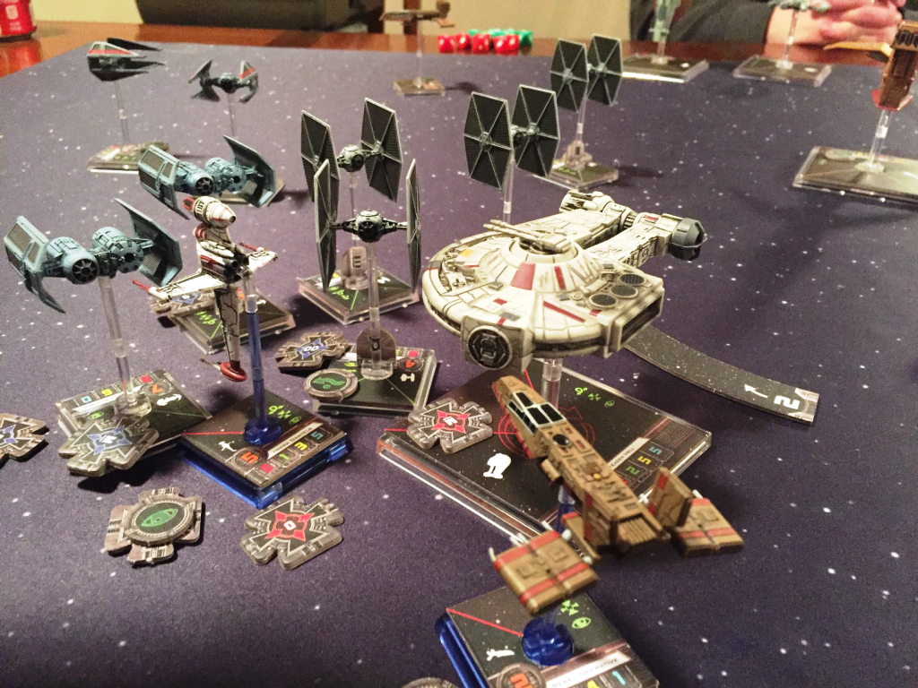 Pretty much every ship ended up in this little fracas in the center of the board.